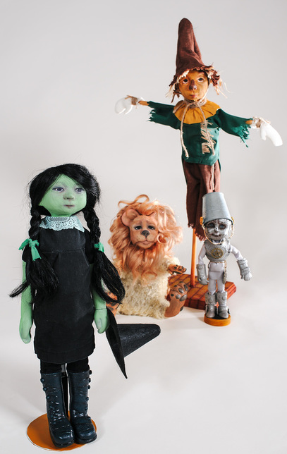 The Wizard of Oz Witched Witch, Lion, Scarecrow, and Tin Man by Jennifer Latham Robinson, Outsider Dolls